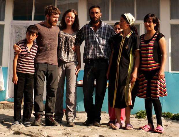 Ania and Jon with a family in Lahic, Azerbaijan