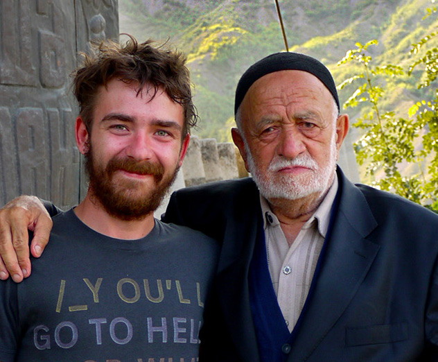 Jon with an old man in Azerbaijan