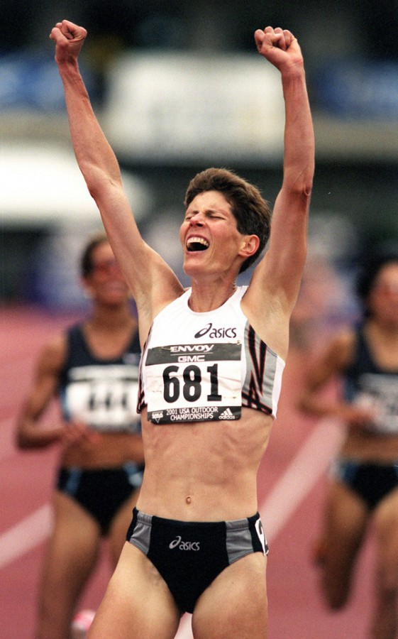 Eugene's Marla Runyan wins the 5,000 meter run ahead of Regina Jacobs Sunday. (THOMAS BOYD/The Register-Guard) Sunday, June 24, 2001