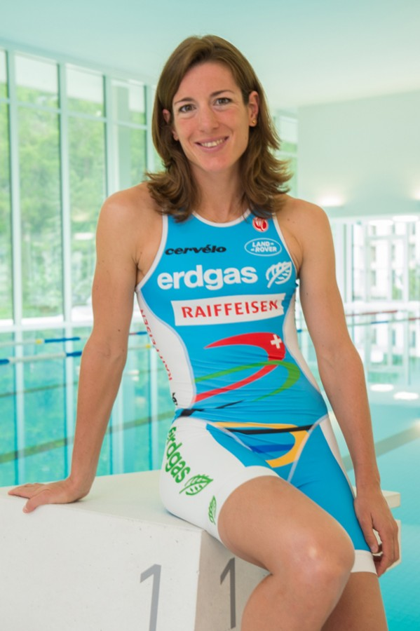 Nicola Spirig, Triathlon Olympic Medalist in London 2012 enjoying the new training facility in the spa and sport center OVAVERVA in St.Moritz, Switzerland. PhotoCredit: fotoSwiss.com/cattaneo